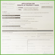 Item 1169 - Application Rebate of Property Tax - 2 pages + verification sheet