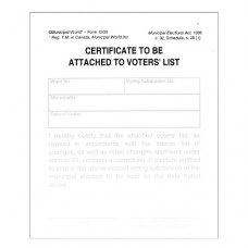 Item 1208 - Clerk's certificate to be attached to voters' list