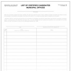 Item 1213 - List of certified candidates - municipal offices