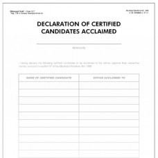 Item 1217 - Declaration of certified candidates acclaimed