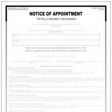 Item 1310 - Notice of appointment to fill vacancy on council