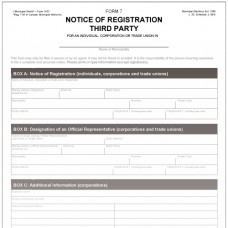 Item 1423 - Notice of Registration of Third Party - Form 7