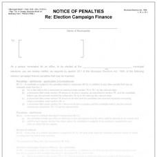 Item 1439 - Notice of penalties re: election campaign finances