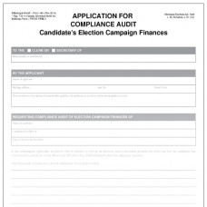 Item 1441 - Application for a compliance audit of candidate's election campaign finances