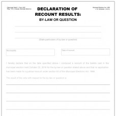 Item 1462 - Declaration of recount results - by-law or question