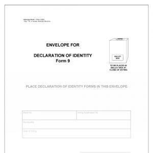 Envelope for Declaration of Identity