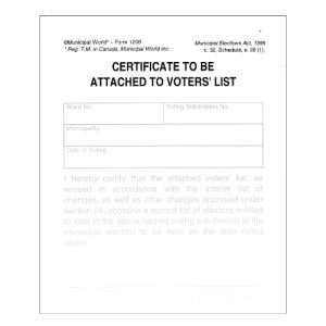 Clerk's certificate to be attached to voters' list