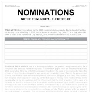 Nomination notice to municipal electors - poster Item 1212