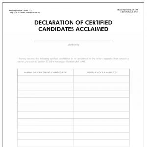 Declaration of certified candidates acclaimed. Item 1217