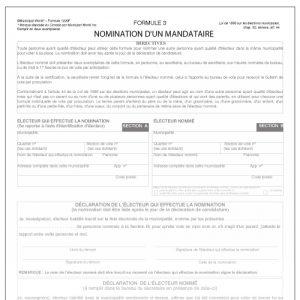 Nomination d'un mandataire - Formulaire 3