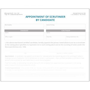Appointment of scrutineer by candidate. Municipal World Form 1234