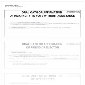 Card with oral oaths or affirmation of qualification Municipal World item 1240