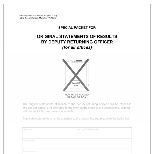 Envelope - Special packet for original statements of results Municipal World item 1241