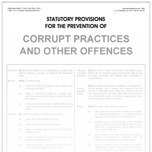 Statutory provisions for the prevention of corrupt practices (poster)