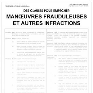 Des clauses pour empêcher manoeuvres frauduleuseset autres infractions Form 1244/f