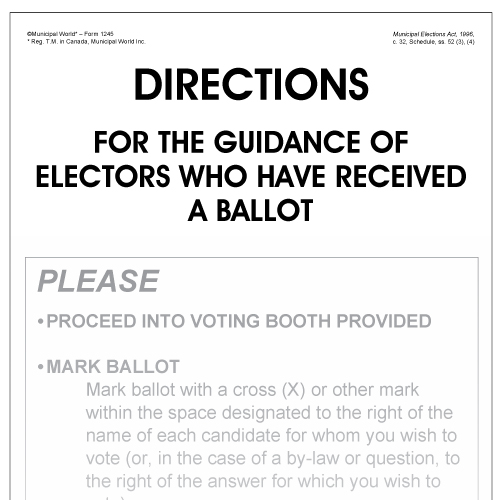 Directions for the guidance of voters who have received a ballot (poster)