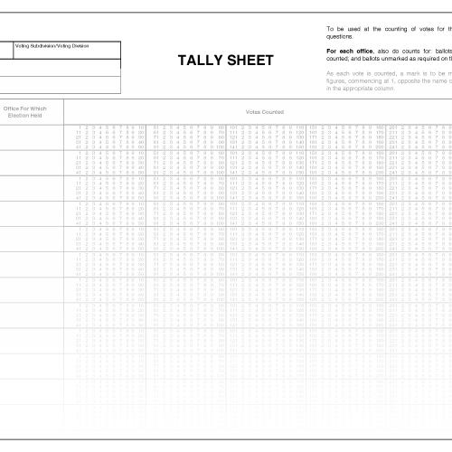 Tally Sheets for 10 Candidates. Municipal World Item 1246