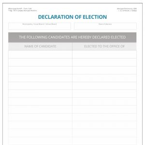 Declaration of election of certified candidate Municipal World form 1248