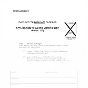 Envelope for duplicate copies of application to amend voters' list. Municipal World Item 1250