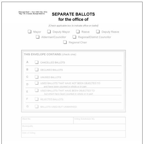 Set of 7 Vote Tabulator Ballot Envelope for separate ballot