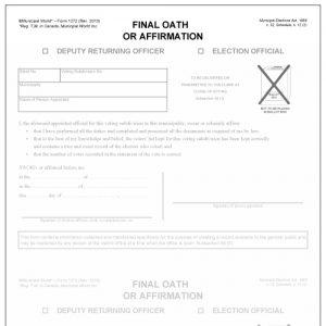Final oath or affirmation of deputy returning officer or election official