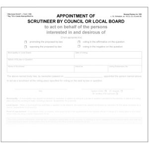 Appointment of scrutineer by council or local board Municipal World Form 1289