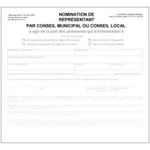 Nomination d'un représentant par conseil municipal ou conseil local
