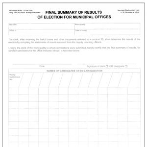 Final summary of results of election - municipal offices. Form 1294