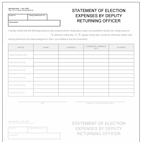 Statement of election expenses by deputy returning officer