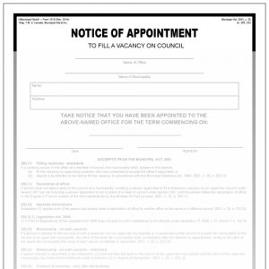 Notice of appointment to fill vacancy on council Municipal World Form 1310