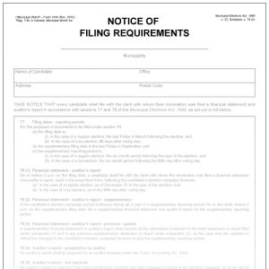 Notice of filing requirements. Municipal World Form 1434