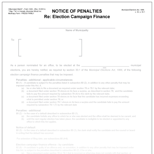 Notice of Penalties - Registered Third Party Form