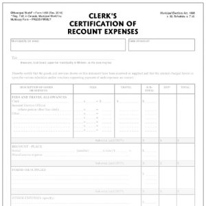 Clerk's certification of recount expenses, paper, printed form