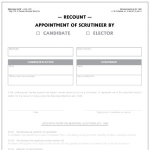 Appointment of scrutineer for Recount Municipal World Form 1470