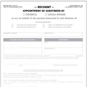 Appointment of scrutineer by council or local board for recount