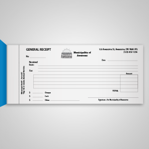 Gerneral Receipt Book of 50 pages with custom logo and name