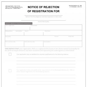 Notice of rejection of third party registrant form for Ontario Municipal Elections