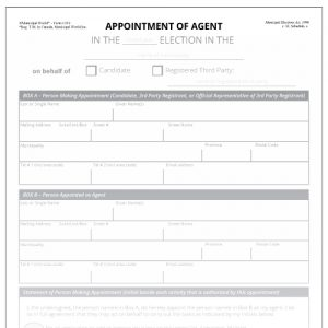 Appointment of Agent for Candidate or Registered Thrid Party Form