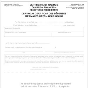 Certificate of maximum campaign expenses for registered third party municipal world form 1432