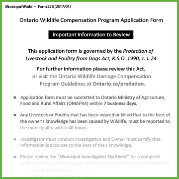 Item 0226 - Program Application - Ontario Wildlife Damage Compensation