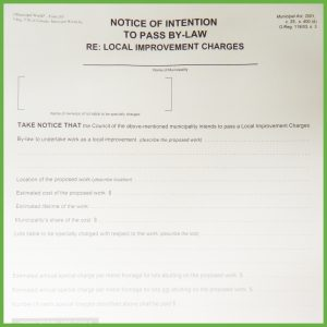 Item 0265 - Notice of intention to construct local improvement - Form 2