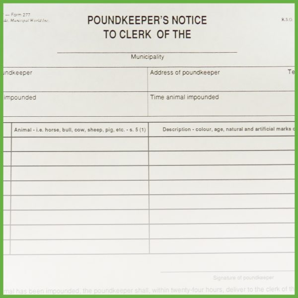 Item 0277 - Poundkeeper's notice to clerk