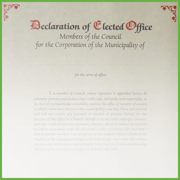 Item 0810 - Declaration of office - members of council