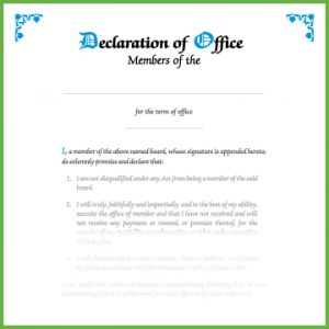 Item 0811 - Declaration of office - members of board