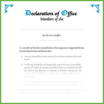 Item 0811 - Declaration of office - members of board