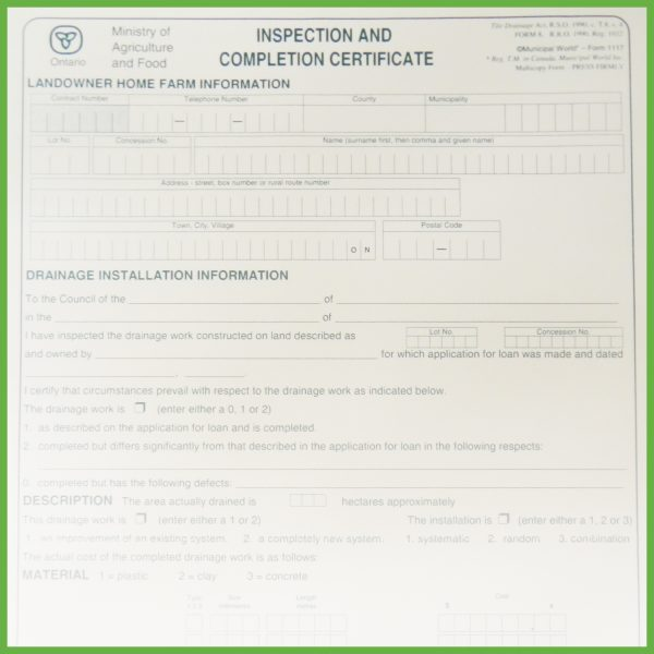 Item 1117 - Inspection and Completion Certificate - Form 8