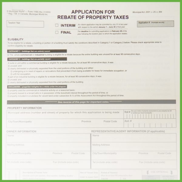 Item 1169 - Application for Rebate of Property Tax - 2 pages + verification sheet
