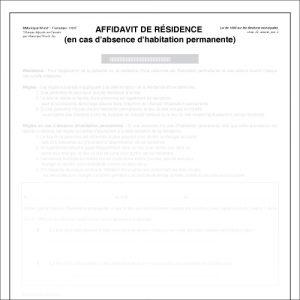 Item 1191F - Affidavit de résidence encas d'absence d'habitation permanente