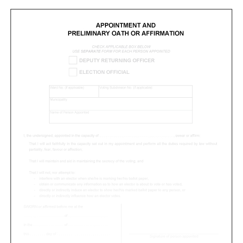 Item 1195 - Appointment and preliminary oath or affirmation