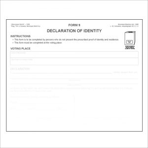 Item 1202 - Declaration of Identity - Form 9